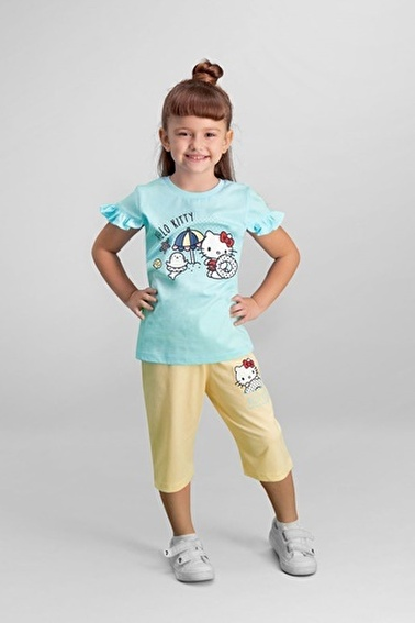 Hello Kitty Hello Kitty Lisanslı Mavi Kız Çocuk Pijama Takımı Mavi